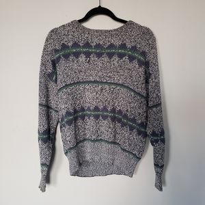 Blue Green geometric cotton knit pillover sweater